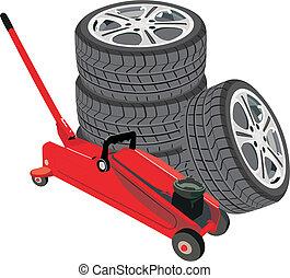 räder, wagenheber, hydraulisch