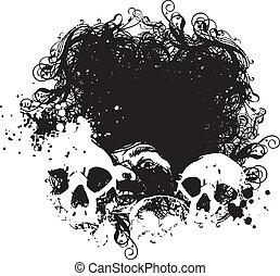rädsla, kranium, illustration