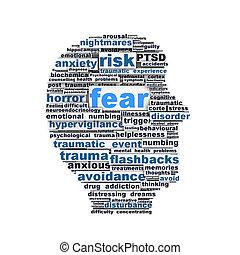 rädsla, symbol, begreppsmässig, design