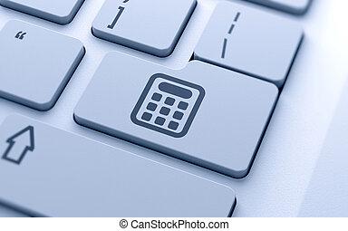 räknemaskin, ikon, knapp
