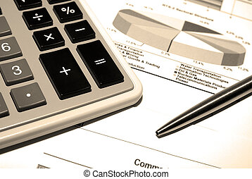 räknemaskin, och, stål, penna, på, tryck, finansiell, data.