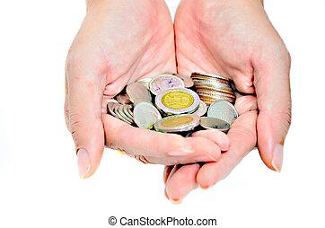 räkning, mynter, in, hand