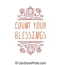 räkning, -, typografiska, element, välsignelser, din
