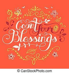 räkning, välsignelser, din, illustration