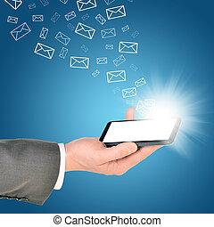 rättighet, affär, mobil, inom, hand, ringa, användande, man