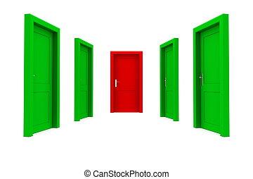 rättighet, dörr, -, grön, välja, röd