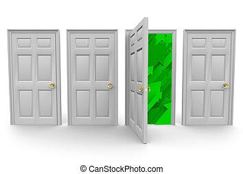 rättighet, dörr, välja, framgång