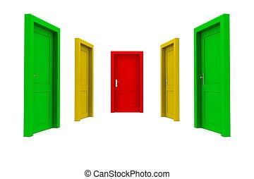 rättighet, dörr, välja