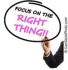 rättighet, text, filtspets, fokusera, hand, ting, markör, ...