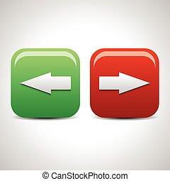 rättighet, vector., ikonen, buttons., pil lämnade