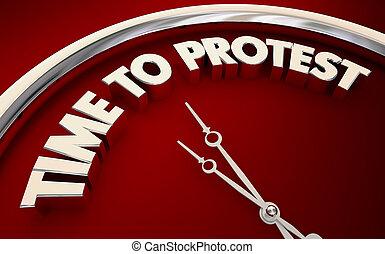 rättigheten, klocka, uppe, illustration, strid, protestera, stå, tid, 3