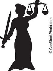 rättvisa, staty, dam