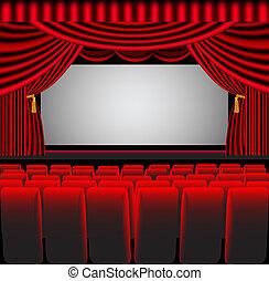 räumlichkeiten, theater, stuhl, schirm