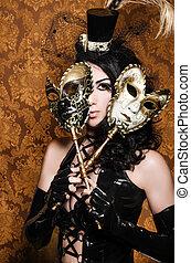 rävhona, maskerad, -, masker, venetiansk, mystisk, sexig