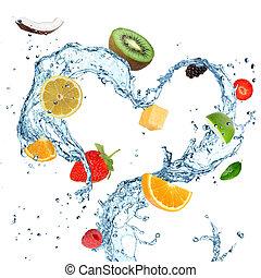 rå frukt, in, vatten, plaska
