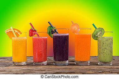 rå frukt, juice, hälsosam, drinks.