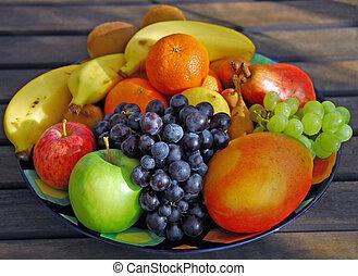 rå frukt, tallrik