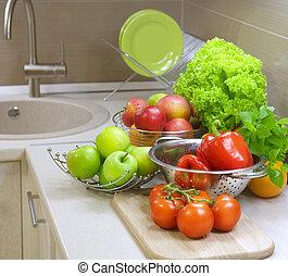 rå, grönsaken, Kök, bord, kost, frisk