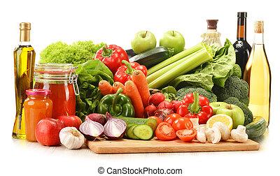 rå grønsager, ind, vidje kurv, isoleret, på hvide