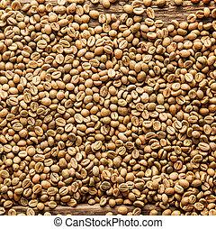 rå, kaffe, fyrkant, bönor, bakgrund