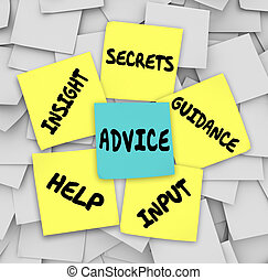råd, hjälp, hemligheter, vägledning, inblick, klistrig ...
