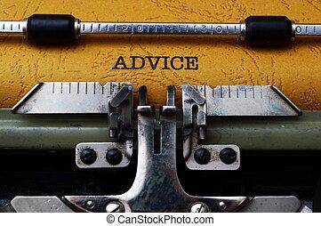 råd, text, på, skrivmaskin