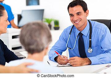 rådgivende, senior, patient, medicinsk doktor