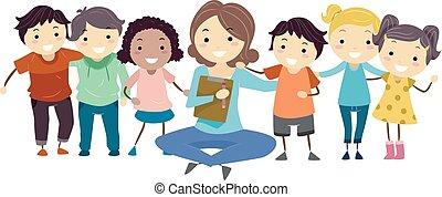 rådgivning, stickman, lurar, grupp, psykiater
