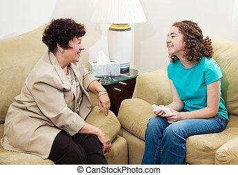 rådgivning, -, vänskapsmatch, konversation
