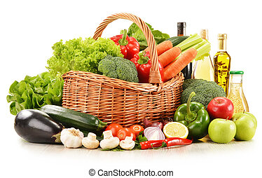 råkall grönsaker, in, flätverk korg, isolerat, vita
