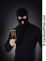 rånare, holdingen, a, guld guldtacka, hinder