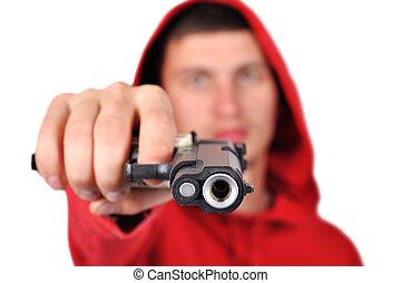 rånare, holdingen, gevär