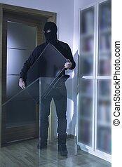 rånare, in, svart, maskera