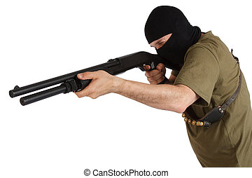 rånare, in, svart, maskera, gevär