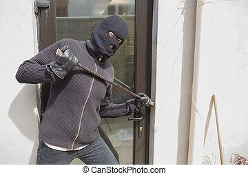 rånare, inridning, in i, hus, användande, kråka, hinder