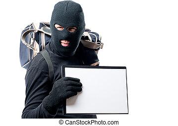 rånare, med, a, stort, väska, visar, a, bilda, för, en, inskrift