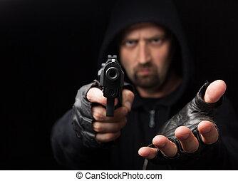 rånare, med, gevär, räck, hand