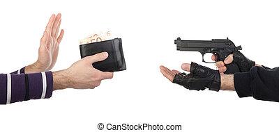 rånare, med, gevär, tagande, plånbok, från, offer