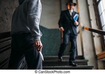 rånare, med, kniv, angrepp, hans, offer, in, hänrycka