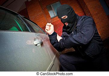rånare, och, den, tjuv, in, a, maskera, hijacks, den, bil