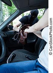 rånare, tagande, kvinna, väska
