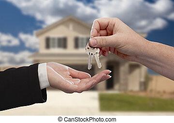 ræk ræk, den, hus nøgle, uden for, nyt hjem