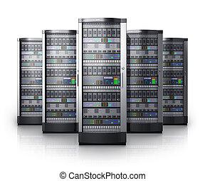 række, netværk, centrum, servers, data