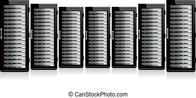 række, netværk, servers
