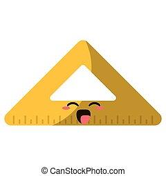 règle, école, triangle, dessin animé