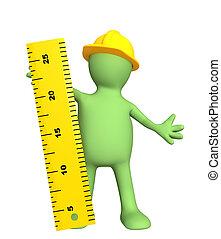 règle, constructeur, -, marionnette, 3d