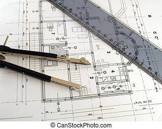 règle, diviseur, plan, architectural