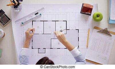 règle, diviseurs, femme, plan, bureau