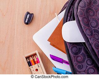 règle, fournitures, stylo, livre, couleur, école, bois, stationnaire, ordinateur portable, table, sac à dos, crayon, souris