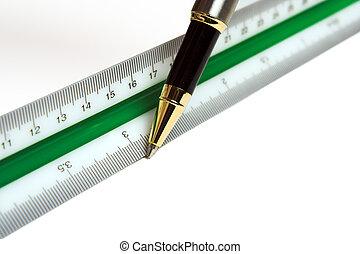 règle, stylo